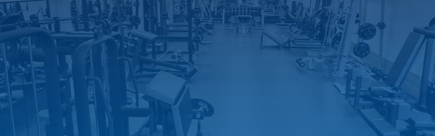 Gym equipment with blue filter
