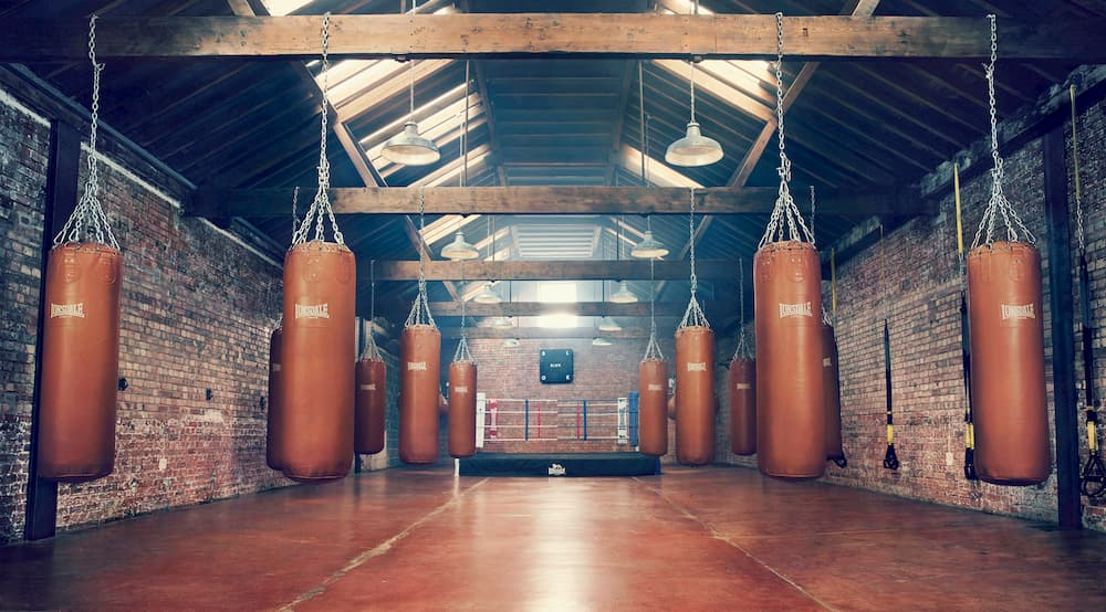 hall with punching bags