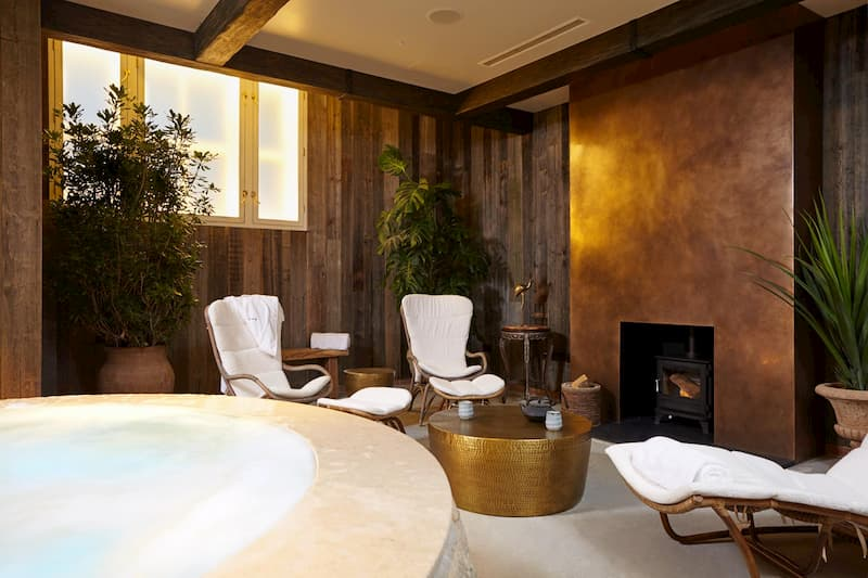 A fireplace and a spa