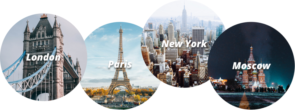 city images - London, Paris, New York, Moscow